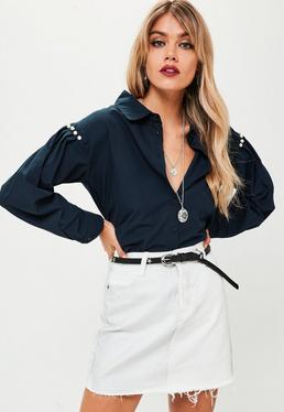 Navy Pearl Trim Shoulder Shirt