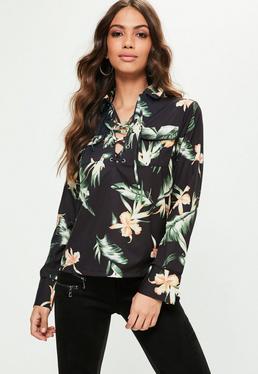 Black Palm Print Lace Top