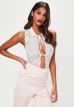 White Lace Tie Collar Bodysuit