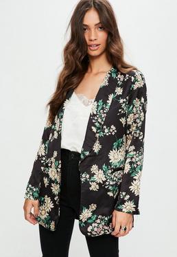 Black Floral Print Kimono Jacket