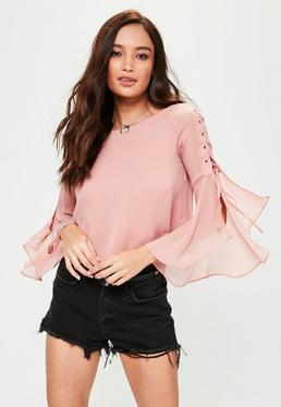 Pink Lace Up Sleeve Top