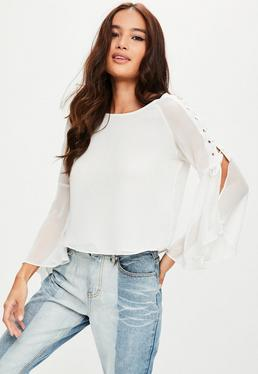 White Lace Up Sleeve Top