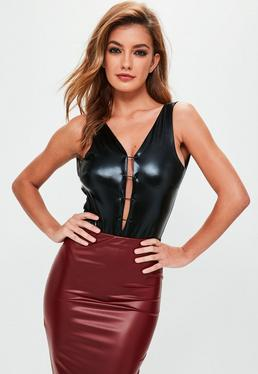 Black Faux Leather Bodysuit