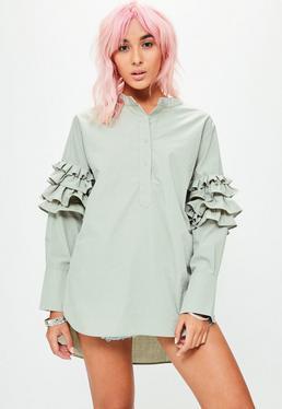 Green Frill Sleeve Longline Shirt
