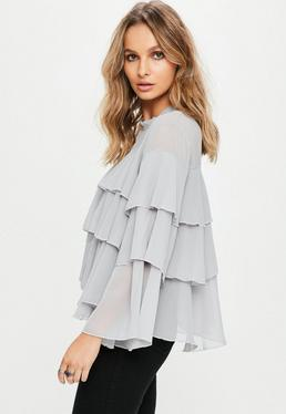 Grey Ruffle Tiered Blouse
