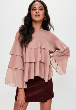 Pink Tiered Ruffle Blouse