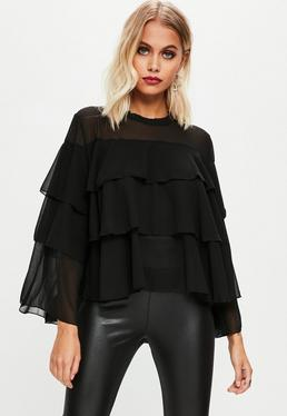 Black Frill Tiered Blouse