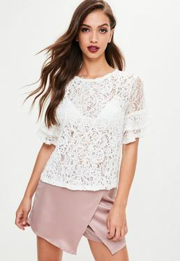 White Rope Lace Frill Sleeve Top