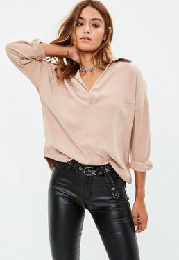 Blusa oversize en camel