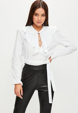 White Frill Front Blouse