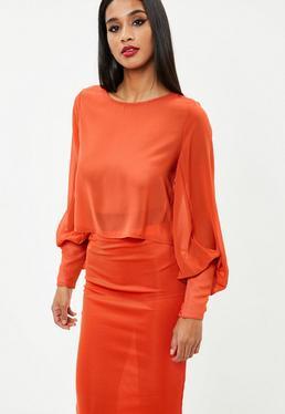 Orange Floaty Sleeve Top
