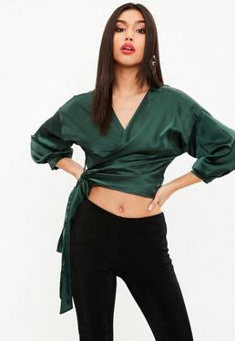 Green Satin Tie Blouse