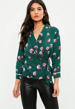 Green Floral Tie Side Blouse