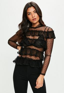 Black Polka Dot Mesh Ruffle Detail Top
