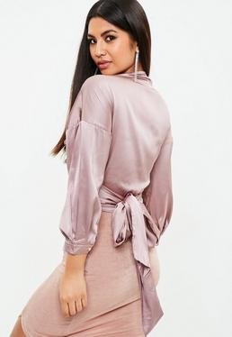 Purple Satin Tie Blouse