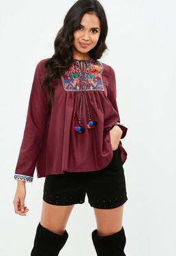 Burgundy Embroidered Smock Blouse