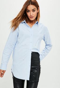 Blue Pearl Front Long Shirt