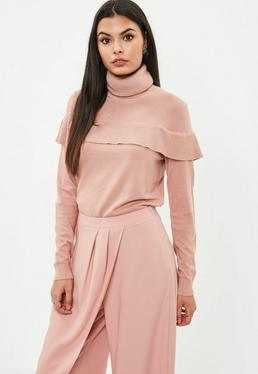 Nude Ruffle Front Sweater