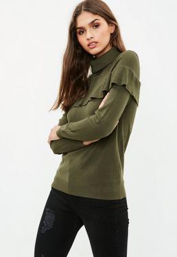 Khaki Frill Front Sweater