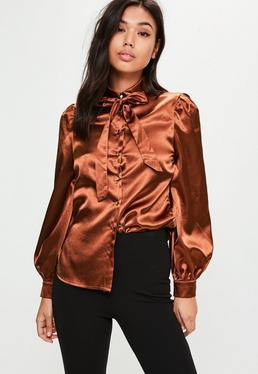 Bronze Satin Bow Blouse