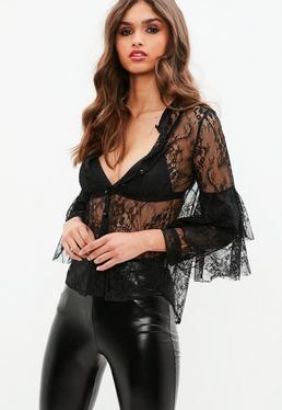 Black Lace Flared Sleeve Shirt