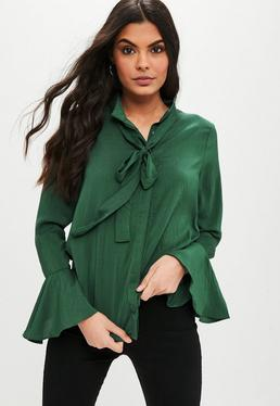 Green Bow Flare Sleeve Blouse