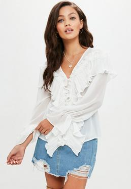 White Pleated Ruffle Tier Blouse