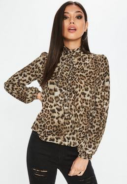 Leopard Print Sheer Bow Blouse