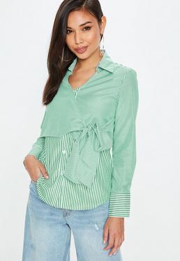 Green Mixed Stripe Tie Detail Shirt