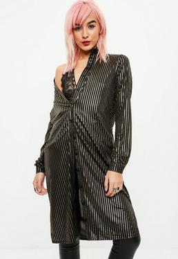Black Metallic Striped Shirt