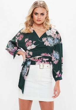 Green Floral Silky Wrap Top