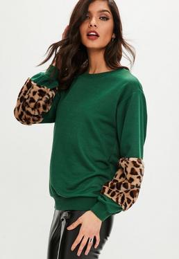 Green Leopard Faux Fur Sleeve Sweatshirt