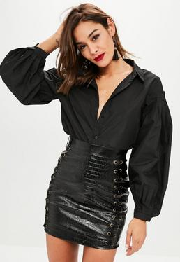 Black Frill Shoulder Shirt