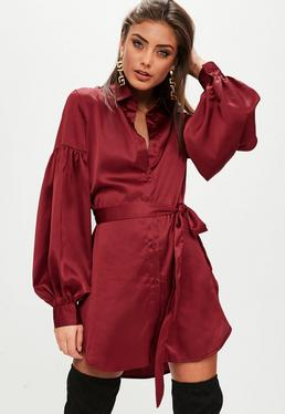 Wine Satin Shirt Dress With Puff Sleeves