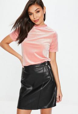 Pink Velvet High Neck T Shirt