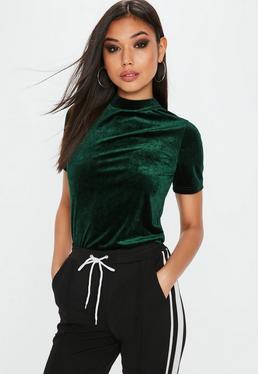 Green Velvet High Neck T Shirt