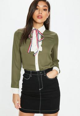 Khaki Frill Stripe Pearl Button Shirt