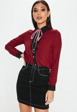 Burgundy Frill Stripe Pearl Button Shirt
