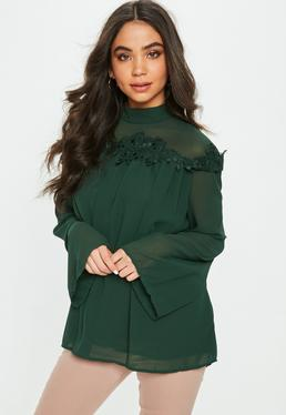 Green High Neck Sheer Embroidered Blouse