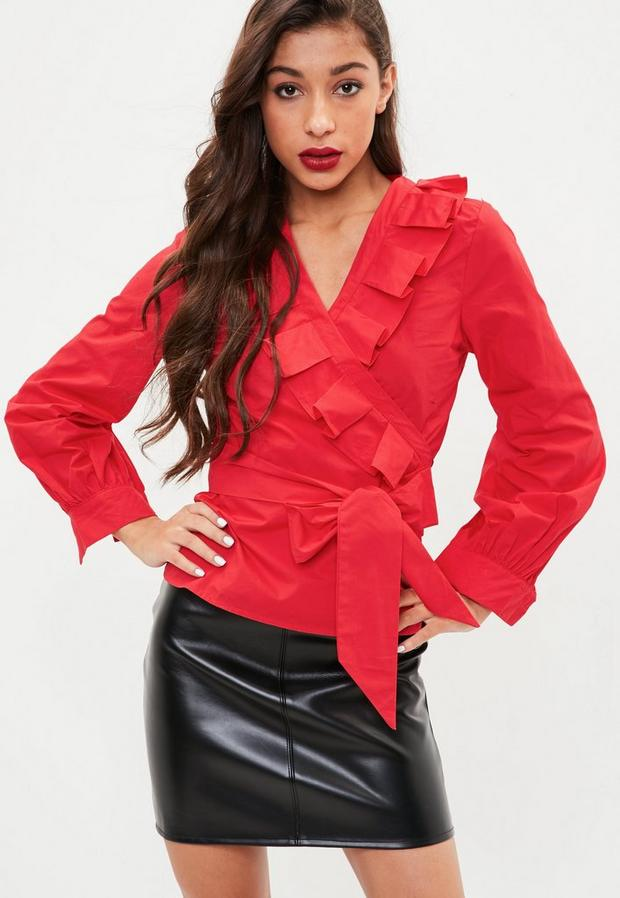 Red Frill Wrap Shirt
