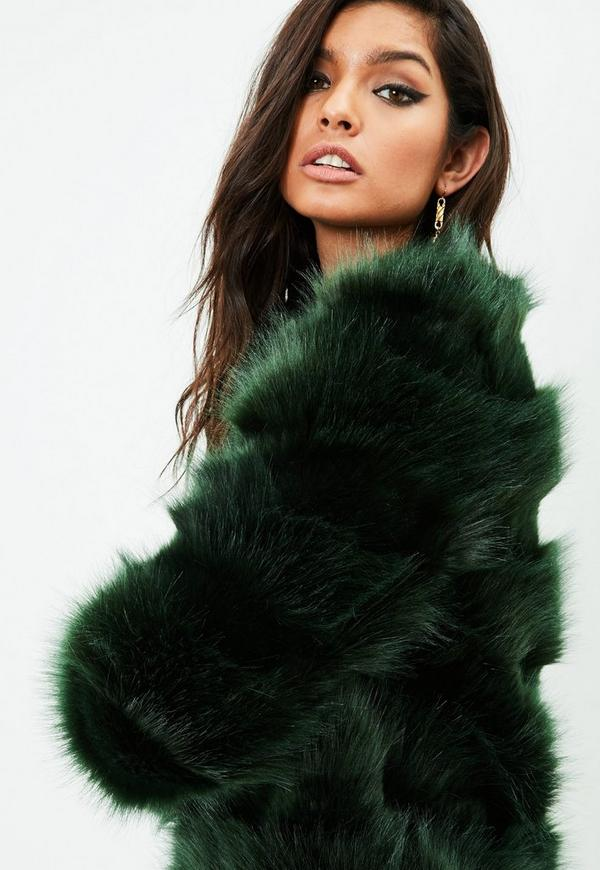 Green Faux Fur Jacket Missguided