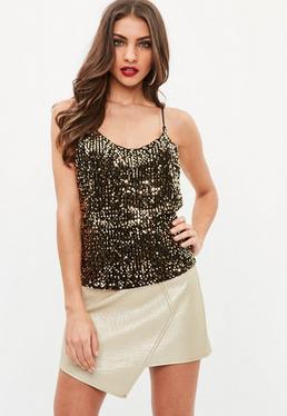 Gold Sequin Cami Top