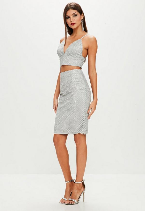 Grey Sequin Cross Two Piece Set by Missguided