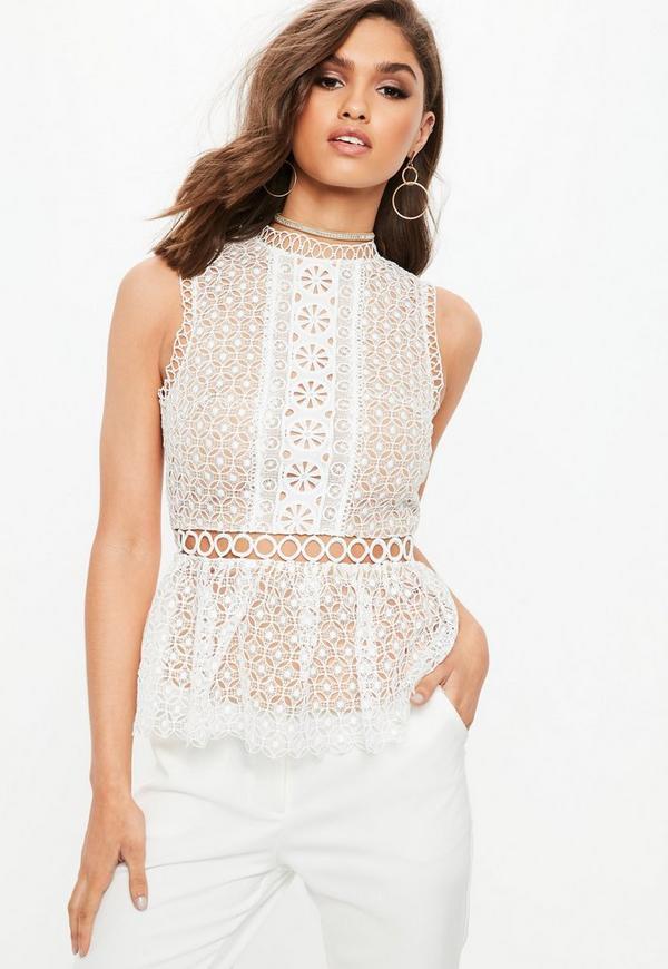 43af21e8465911 White Lace Peplum Sleeveless Top