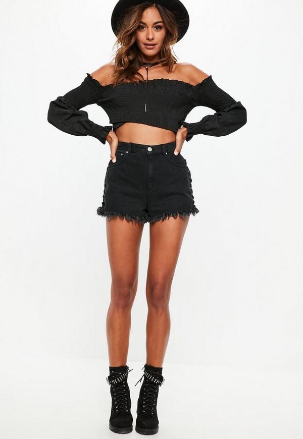 00efd47778823a ... Black Bardot Cross Front Shirred Crop Top. Previous Next