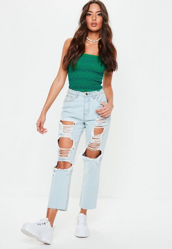 215ea6ebfeb6f Green Contrast Stitch Shirred Crop Top. Previous Next