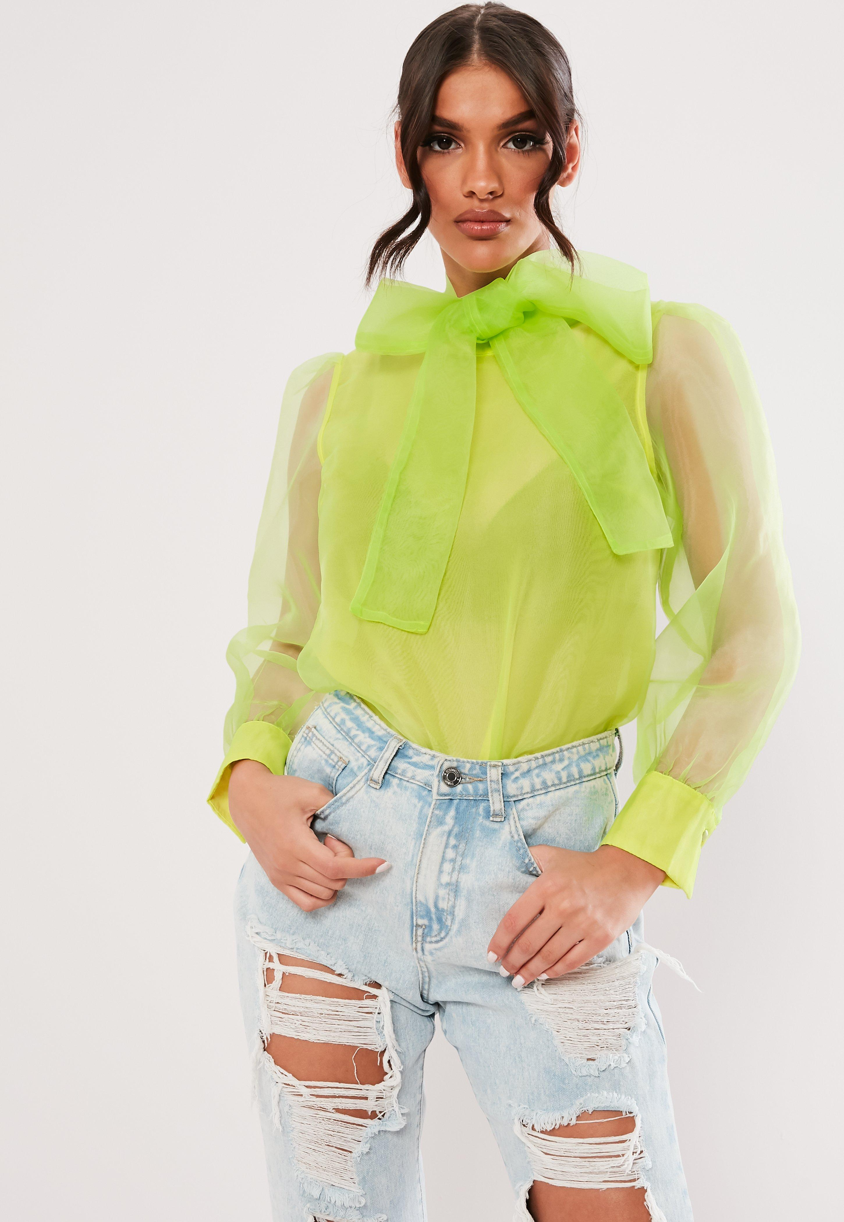 b148ba2ef477 Lime Organza Pussybow Blouse | Missguided