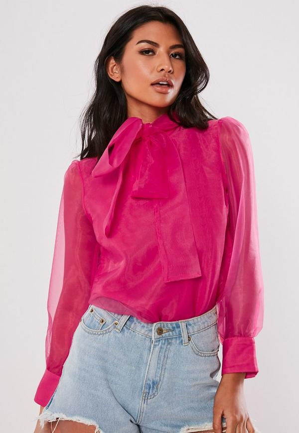 Neon Pink Organza Pussybow Blouse by Missguided