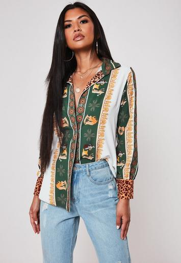 Green Animal Print Mix Shirt by Missguided