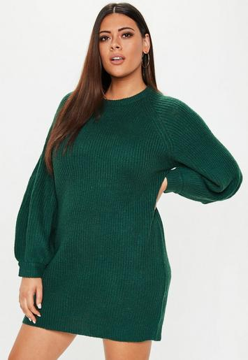 Plus Size Green Oversized Jumper Dress | Missguided